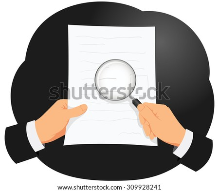 Businessman is analyzing document using magnifying glass to check small text - stock vector