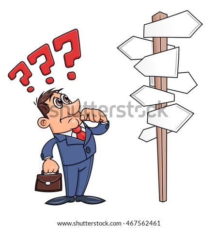 Businessman is confused by road sign 3