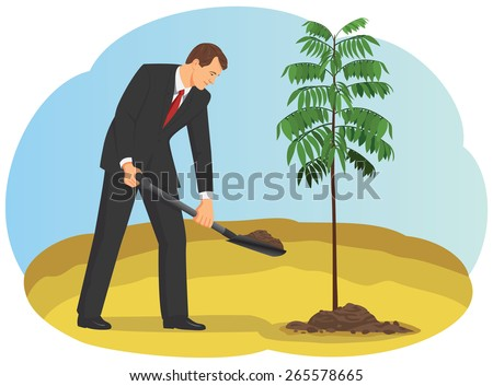 Businessman is digging in the dirt using shovel and planting young tree - stock vector
