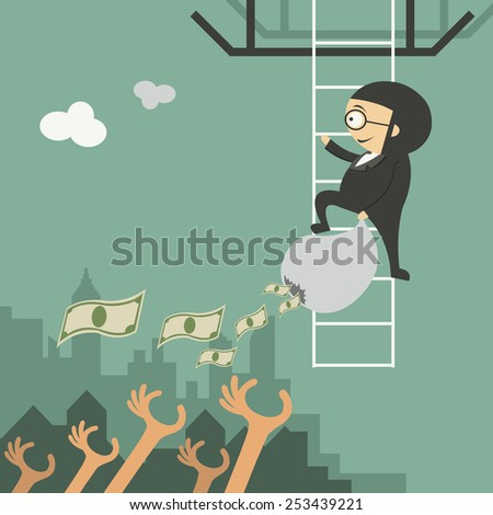 Businessman is going to fall from a helicopter - stock vector