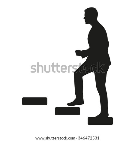 Businessman is going upstairs. Vector silhouette - stock vector