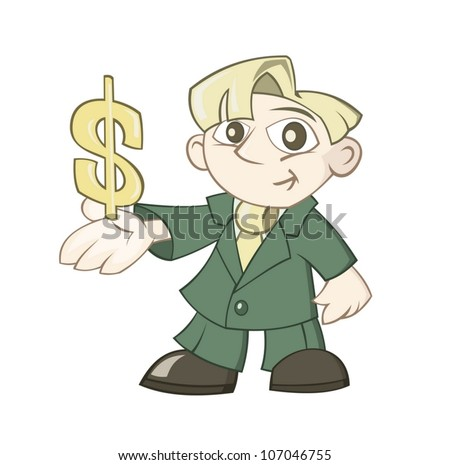 Businessman is holding a dollar sign in a hand - stock vector