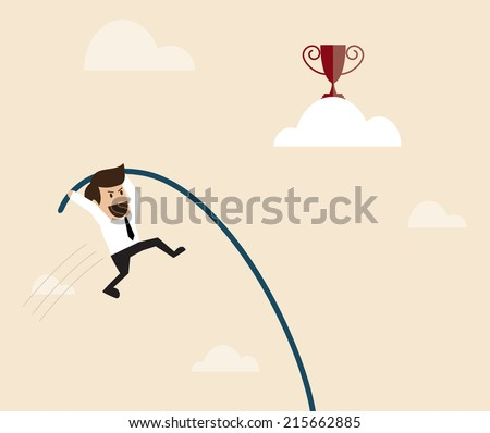 Businessman is jumping with pole vault to the target