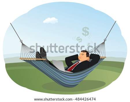 businessman is lying in hammock with laptop and dreaming about big money   fort and recreation businessman lying hammock laptop dreaming about stock vector      rh   shutterstock