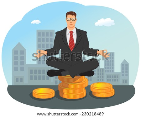 Businessman is meditating in yoga lotus pose on stack of gold coin - stock vector