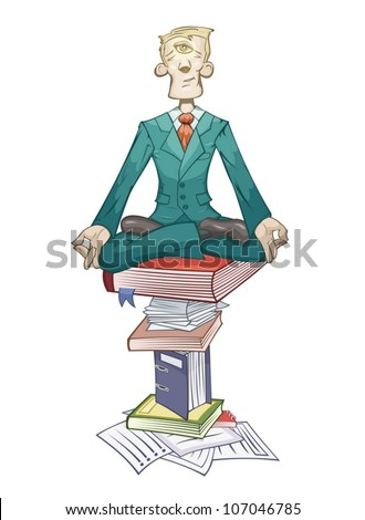 Businessman is meditating on the pyramid of documents - stock vector