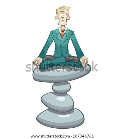 Businessman is meditating on the stones - stock vector
