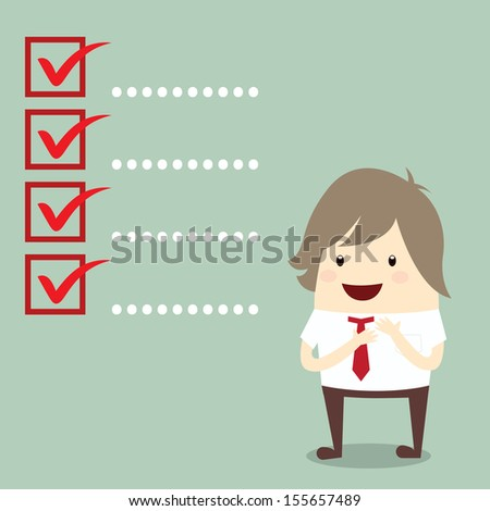 businessman is planning with popular checklist symbol right mark isolated, business concept - stock vector