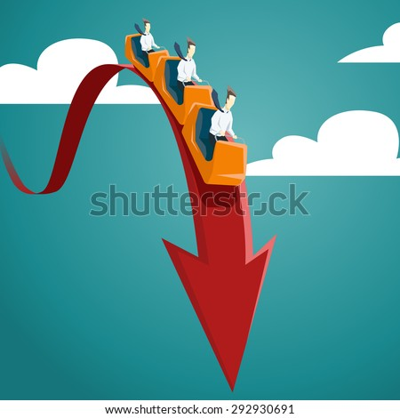 Businessman is riding on a roller coaster. Vector financial and economic crisis graph concept. - stock vector