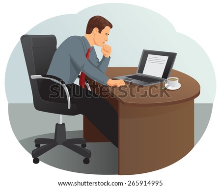 Businessman is thinking under stress. He is looking at the laptop screen. - stock vector