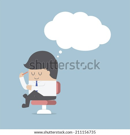 Businessman is thinking while sitting on the chair, VECTOR, EPS10 - stock vector