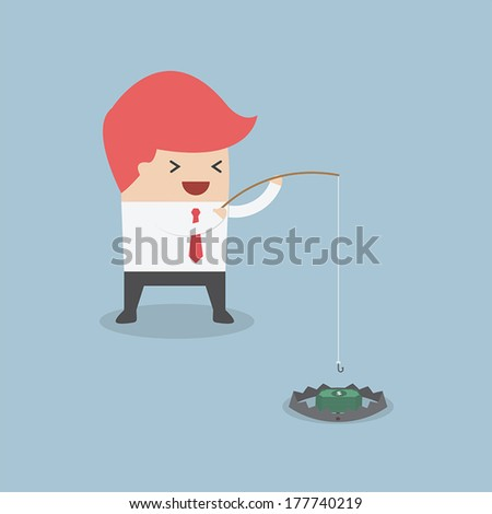 Businessman is trying to take money out of trap, VECTOR, EPS10 - stock vector