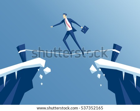 businessman is walking a tightrope across the gap between the rocks. employee of the tightrope walker goes from one mountain to another, business concept risk and danger