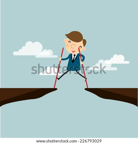 Businessman is walking on stilts over the hill with the help of a wooden stick. He believed to successl,vector,illustrator.