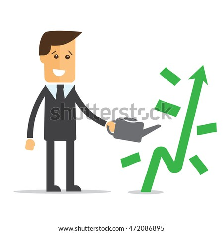 Businessman is watering a tree of money vector eps 10