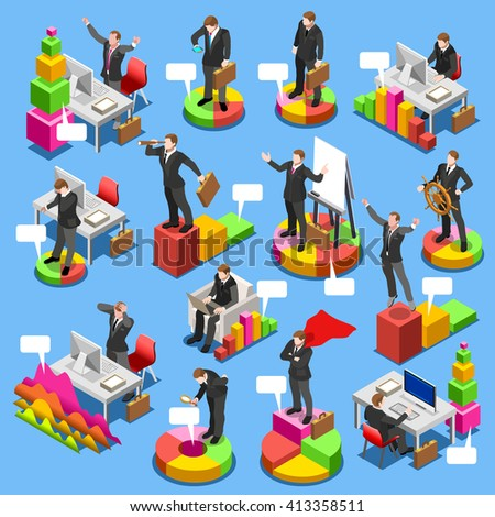 Businessman isometric people finance set. Business man characters on graph chart infographic icons. Flat 3D isolated business man Icon. Businessman People Finance Concept Image Vector Illustration. - stock vector