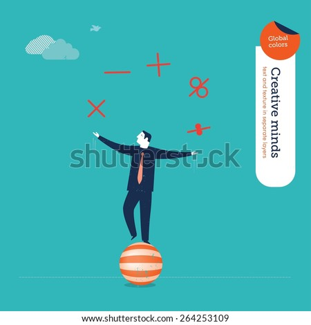 Businessman juggler with mathematical functions. Vector illustration Eps10 file. Global colors. Text and Texture in separate layers. - stock vector