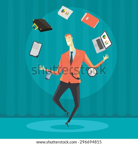 Businessman juggling with office equipment. Creative vector cartoon illustration on make money and wealth management concept. - stock vector