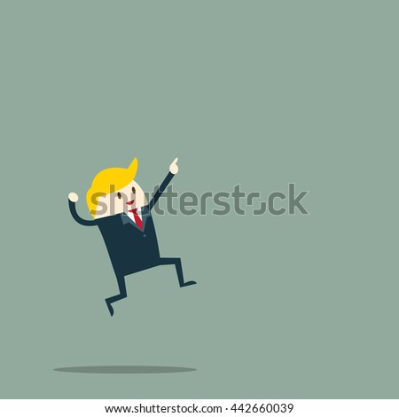 businessman jump oi to the air happy for success, the success concept more and more. vector