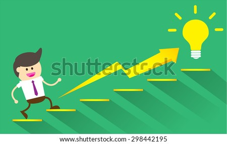 businessman jump over growing chart. money chart. vector illustration. lamp idea. infographics.marketing, victory. Ladder to success. walk. goal. graphic. stair. icon. destination,win.green background - stock vector