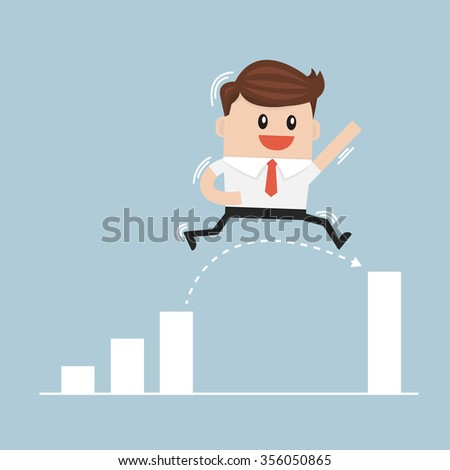 Businessman Jump Through The Gap In Growth Chart vector - stock vector