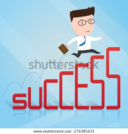 Businessman jump up to success, business concept, vector 10 - stock vector