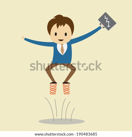 Businessman jump with a shoe on springs. - stock vector