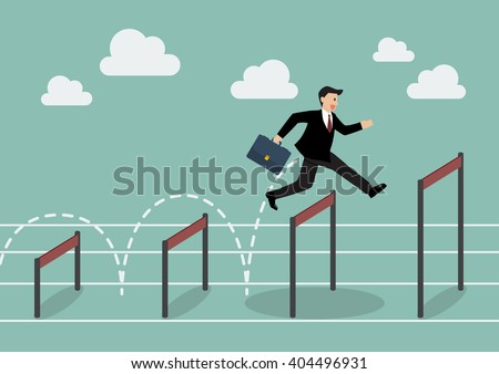 Businessman jumping higher over hurdle. Business concept - stock vector