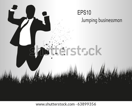 Businessman, jumping on a field. - stock vector