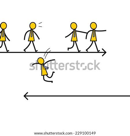 Businessman jumping out of crowd to another direction, unique and different thinking concept. Simple character design.  - stock vector