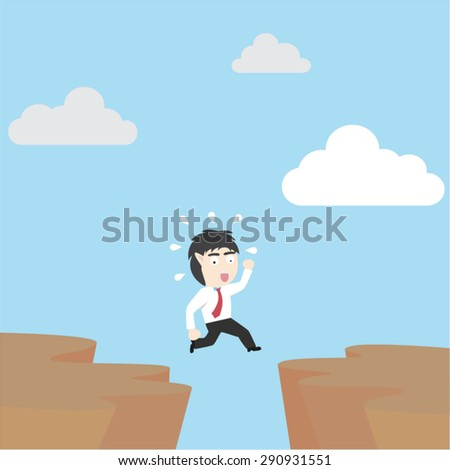 businessman jumping over gap - stock vector