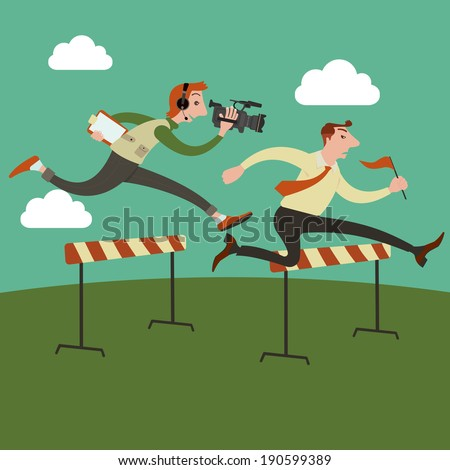Businessman jumping over hurdle on a running track on the way to success, Run by cameraman behind. - stock vector