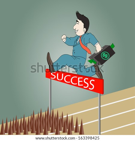 Businessman jumping over hurdle on a running track on the way to success with briefcase - stock vector