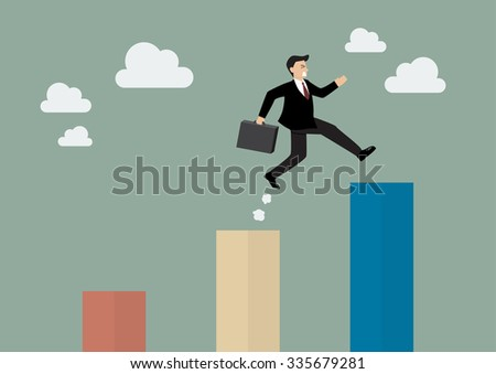 Businessman jumping up to a higher bar chart. Business concept - stock vector