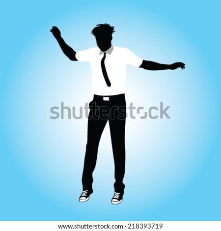 businessman jumping vector illustration - stock vector