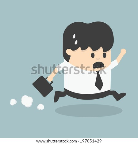 Businessman Late for Work - stock vector