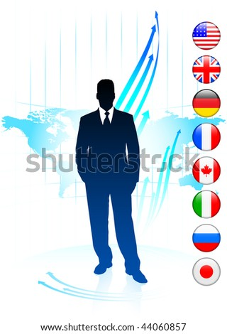 Businessman Leader on World Map with Flags Original Vector Illustration - stock vector