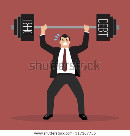 businessman lifting a heavy weight debt. Business concept - stock vector