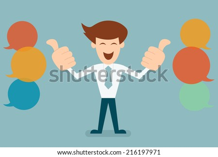 Businessman like, thumbs up with bubble speechs concept of feed back vector - stock vector