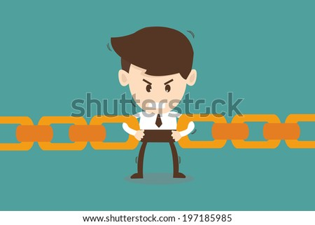 Businessman link chain together - Business concept  - stock vector