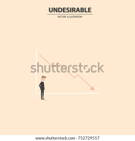Businessman Looking At A Bad Trend Going Down, Undesirable Sale Result.  Business Concept Of