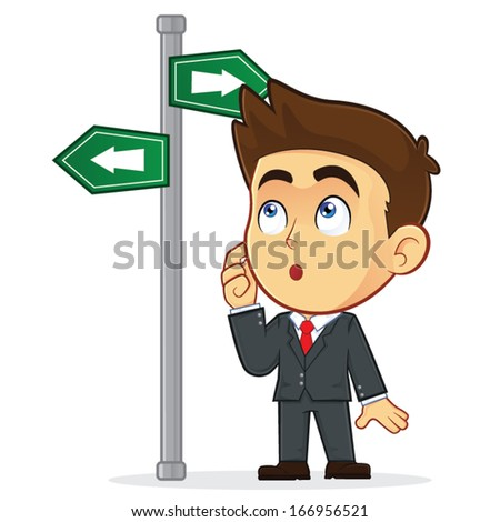 Businessman Looking at a Sign That Points in Many Directions - stock vector