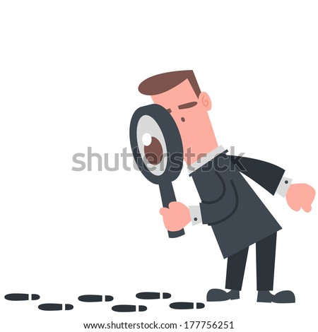 Businessman Looking at The Footprint - stock vector