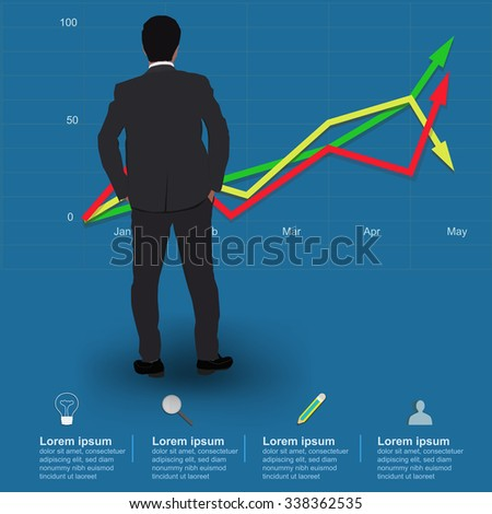 Businessman looking at the line chart,vector illustration - stock vector