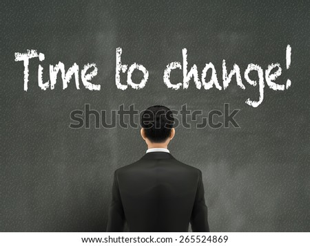 businessman looking at time to change words on wall - stock vector