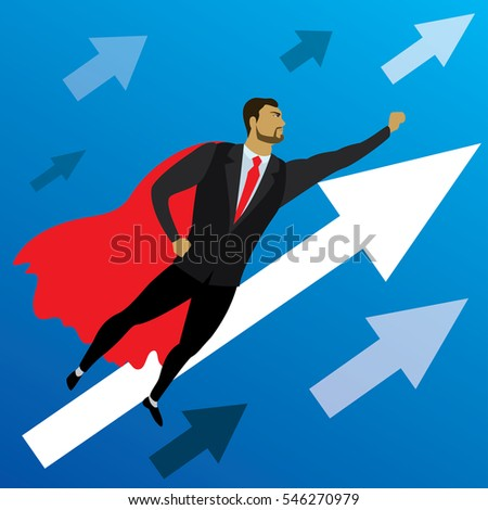 Businessman looking like Superhero flying to success,vector illustration