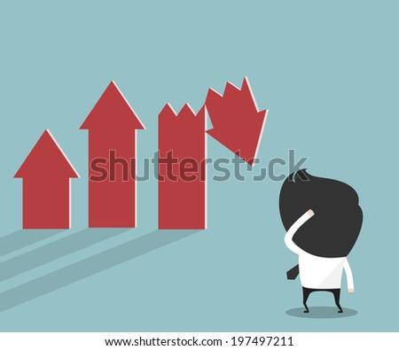 Businessman looking stock crisis - stock vector