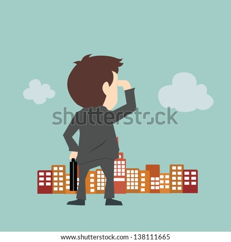 Businessman looking to the future - stock vector
