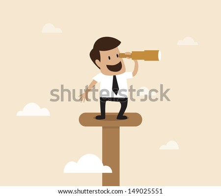 Businessman looking to the view with telescope - stock vector