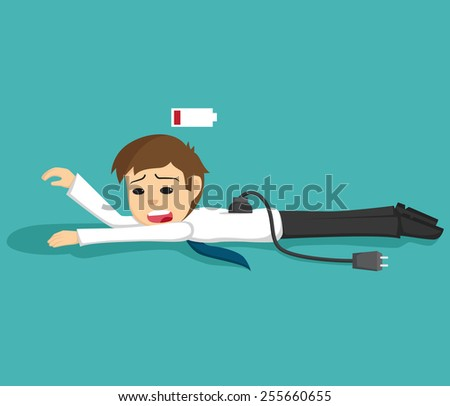 Businessman Low Energy or Tired of Working - stock vector